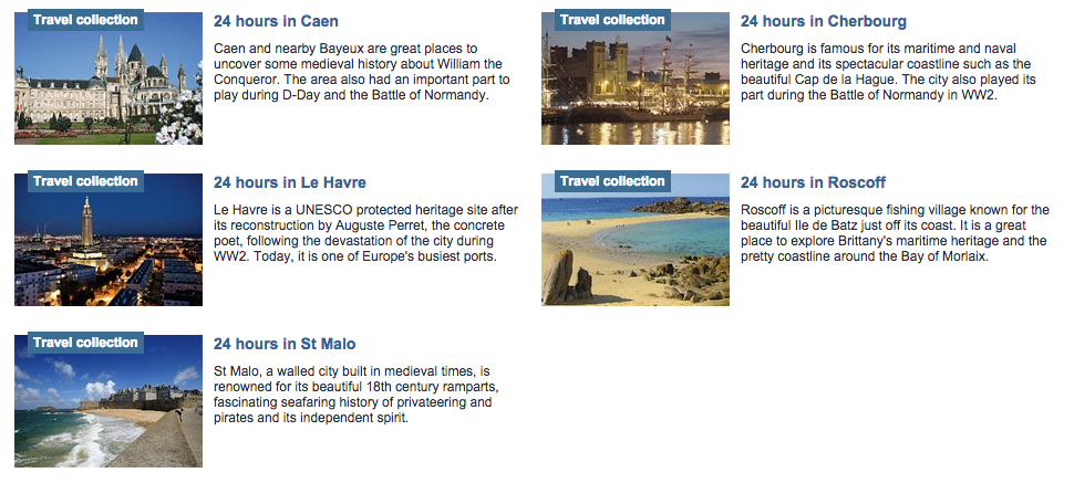 Brittany ferries also provide excellent what-to-see-in-24hrs guides to all their French ports
