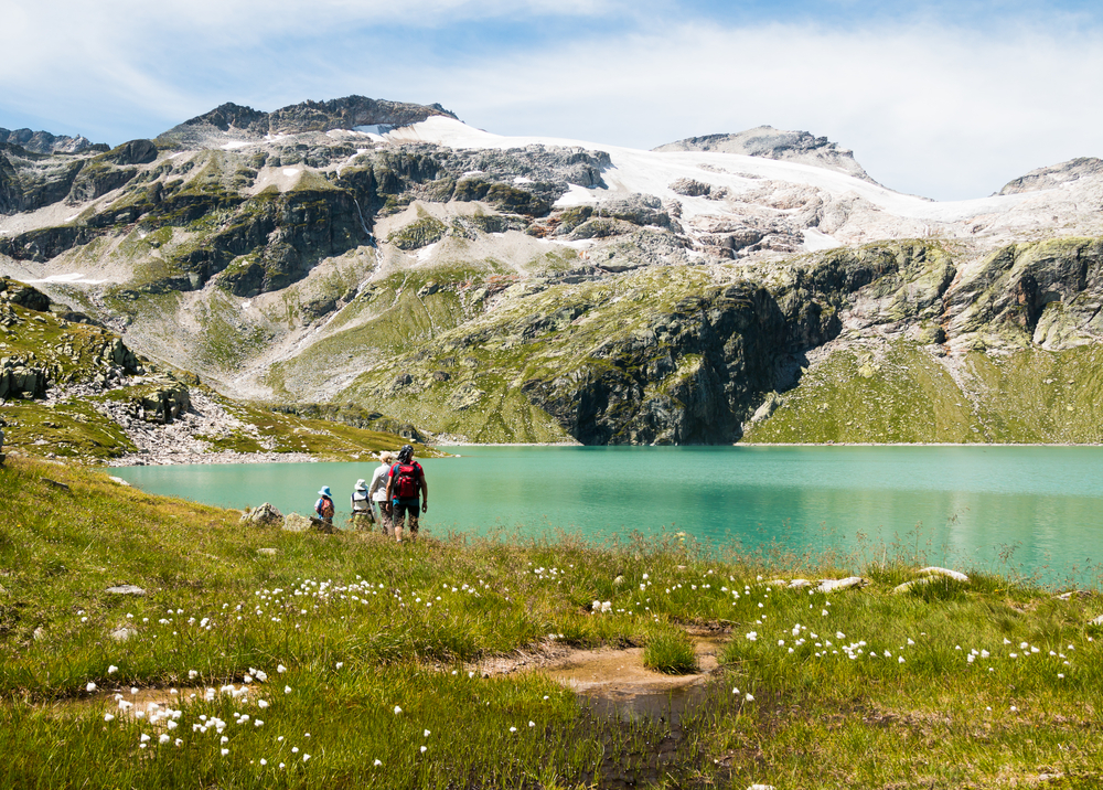 Family enjoying a mountain lake - image courtesy of ShutterStock