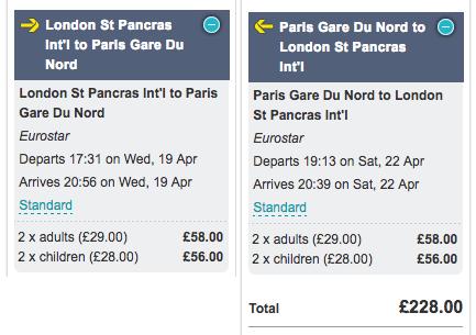 £29 eurostar tickets school holiday dates