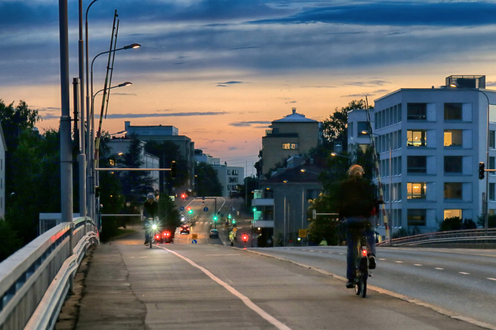 night bike ride in Helsinki