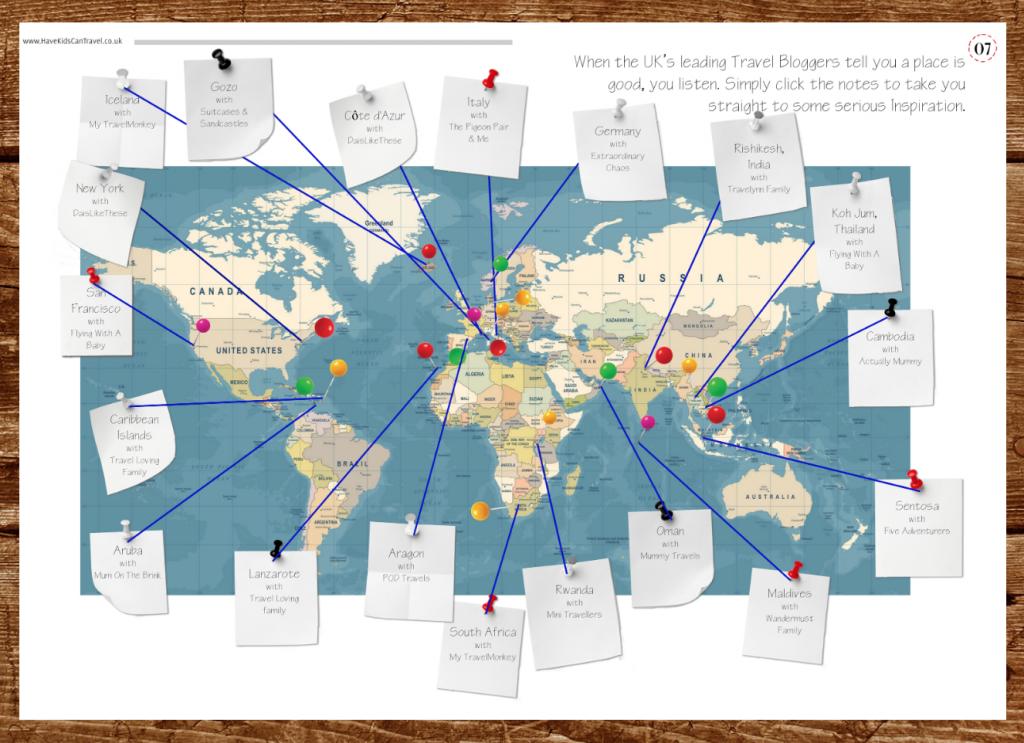 world map of travel blogger family holiday inspiration